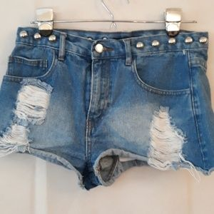 Forever 21 Studded Destressed Jean Shorts